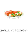 salmon, vegetable, food 42180413