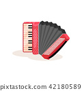 Flat vector icon of red accordion. Portable musical instrument with black and white keys. Element 42180589