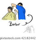 hairdresser cutting hair of male client vector 42182442