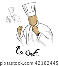 chef in uniform with fists vector illustration  42182445
