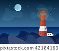 Vector drawn lighthouse at night with rocks  42184193
