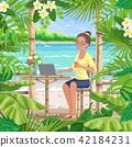vector, woman, seaside 42184231