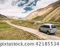 SUV Car On Off Road In Spring Mountains Landscape In Truso Gorge 42185534
