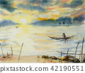 Fishing man sailing on the lake. Watercolor paint 42190551