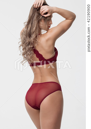 ce4a478a09f Sexy woman in red lingerie - Stock Photo  42190900  - PIXTA