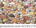 Various Sea Shells on a Concrete Wall Decoration. 42191179