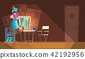 Vector cartoon interior of empty dressing room 42192956