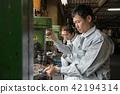 工廠人工作鑽孔機 42194314
