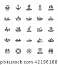 boat and ship filled Icon set  42196188