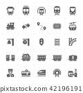 train and transportation filled Icon set 42196191