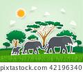 africa elephant family scene in paper design 42196340