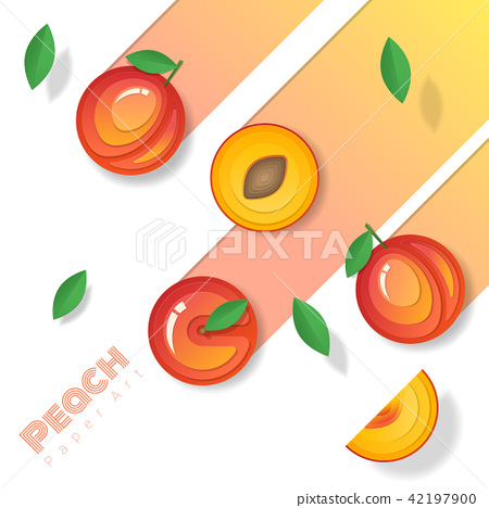 Fresh peach fruit background in paper art style 42197900