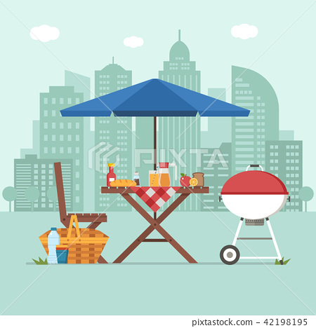 Barbecue with Picnic Table on City Background 42198195