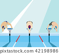 Swimmers jumping off the starting block in swimmin 42198986