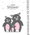 Portrait hog family on baby shower invitations  42199105