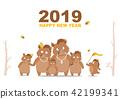 Portrait wild boar family calendar 2019 design 42199341