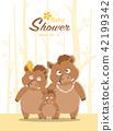 Portrait wild boar family on baby shower 42199342