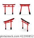 Japanese Torii red color perspective and isometric 42200852