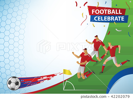Football players in action celebration. 42202079