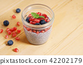 chia seed pudding with fresh fruits 42202179