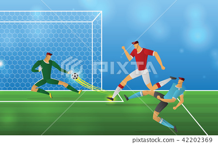 Soccer player in action on stadium background 42202369
