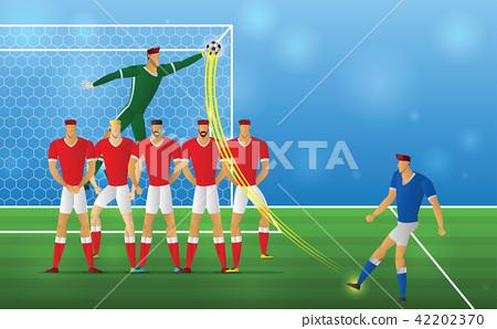 Soccer player in action freekick on stadium 42202370