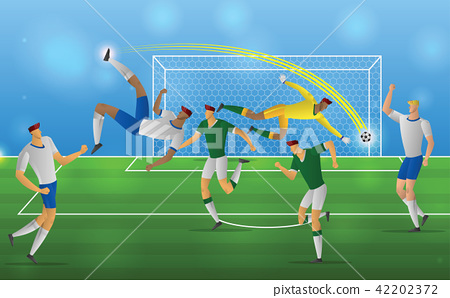 Soccer player in action overhead kick on stadium 42202372
