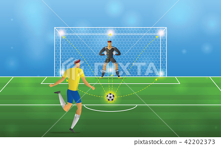 Soccer player in action Penalties on stadium 42202373