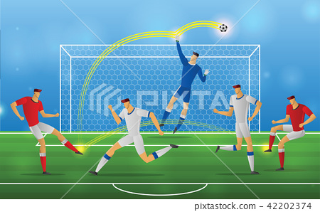 Soccer player in action on stadium background 42202374