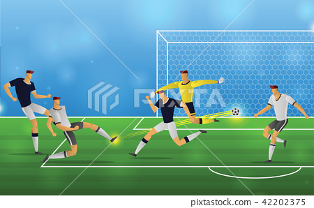 Soccer player in action on stadium background 42202375
