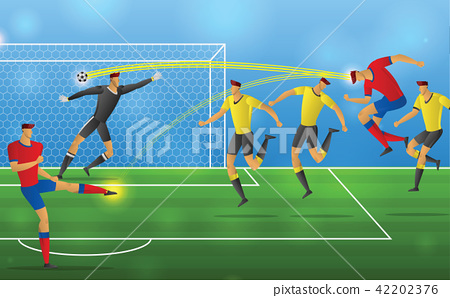 Soccer player in action on stadium background 42202376