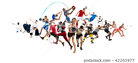 Sport collage about kickboxing, soccer, american football, basketball, ice hockey, badminton 42203977
