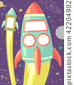 Outer Space Bulletin Frames Rocket Illustration 42204902