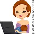 Girl Breastfeed Laptop Illustration 42204938