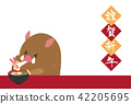 new year's card, twelfth sign of the chinese zodiac, boar 42205695