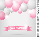 wedding banner with pink and white balloons 42206698