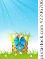 wooden basket with easter eggs on fresh grass 42206706