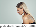 Woman with Healthy Blonde Hairstyle, Makeup 42207004
