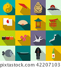 Japan icons set flat 42207103
