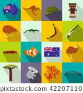 Australia icons flat 42207110