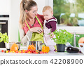 Mother working in kitchen while carrying child 42208900
