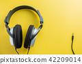 Stereo Headphones on Yellow background.  42209014