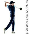 man golfer golfing isolated withe background 42209266