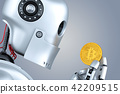 Robot looking at bitcoin coin in his hands. 42209515