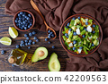 Salad with berries, lettuce, avocado, jicama 42209563