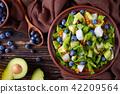 Salad with berries, lettuce, avocado, jicama 42209564