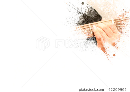 Playing Guitarist Watercolor painting background 42209963