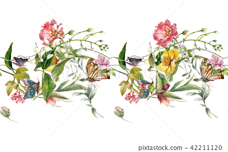 Watercolor painting of leaf and flowers, seamless  42211120