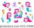 Mermaid cute stickers, cartoon little princess. Vector illustration. Fun sea character design 42213988