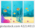 Underwater scene cartoon flat background with fish, sand, seaweed, coral, starfish. Ocean sea life 42214013